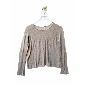 free people beige knit long sleeve sweater wool